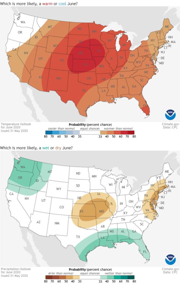 outlook, temperature, precipitation, USA, June, 2020