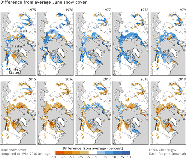 Us Snow Cover Map 2015 Climate Change: Spring Snow Cover | NOAA Climate.gov