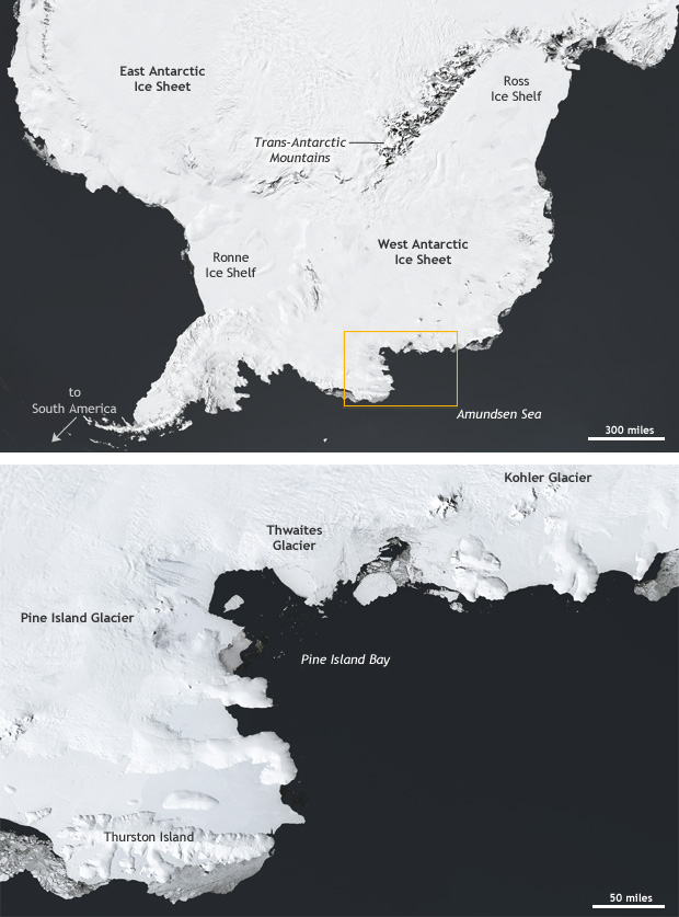 Map of West Antarctic ice sheet