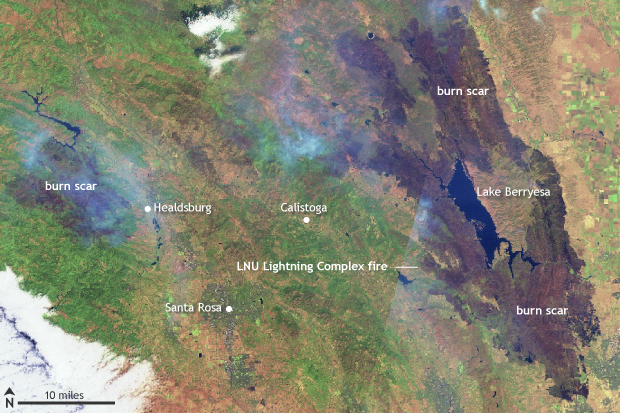wildfire, California, August 2020, LNU Lightning Complex fire