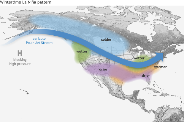 Typical Impacts Of La Nina On U S Winter Temperature And Precipitation Such Impacts Have Been Associated With Past Episodes But All Impacts Aren T Seen
