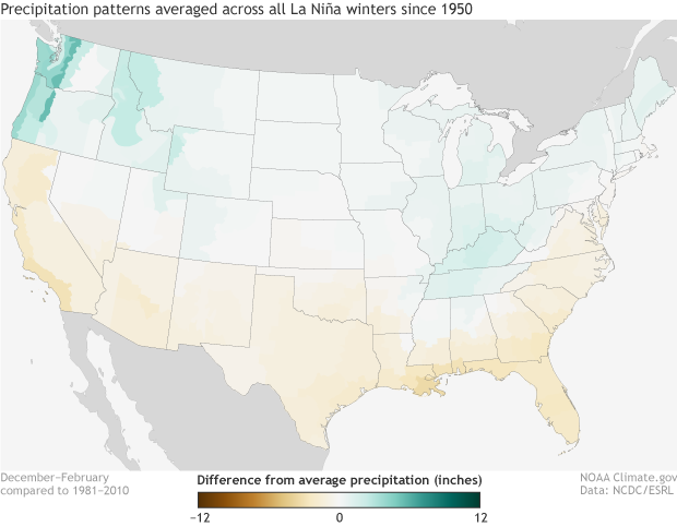 La Nina, ENSO, Precipitation, United States, Winter