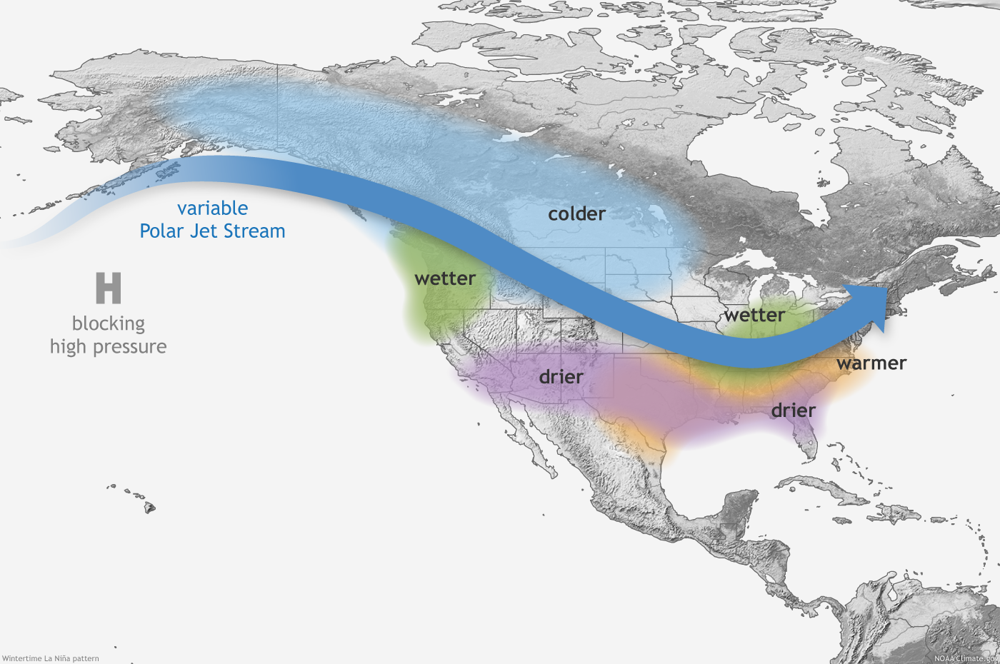 How El Niño And La Niña Affect The Winter Jet Stream And US - Us weather patterns map