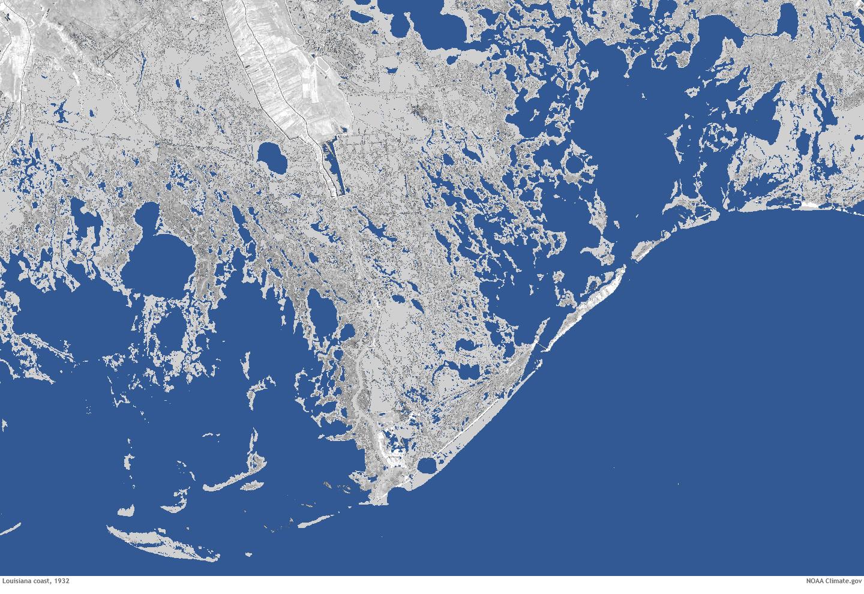 Underwater Land loss in coastal Louisiana since 1932 NOAA Climategov