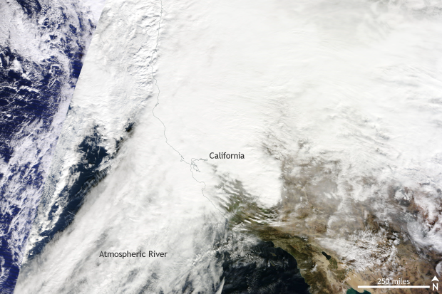 rain, MODIS, TERRA, California, Atmospheric River