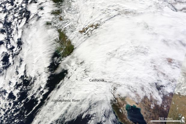Satellite, MODIS, TERRA, rain, atmospheric river, california