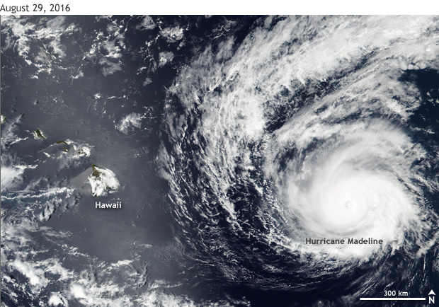 satellite image of Hurricane Madeline with Hawaii at left