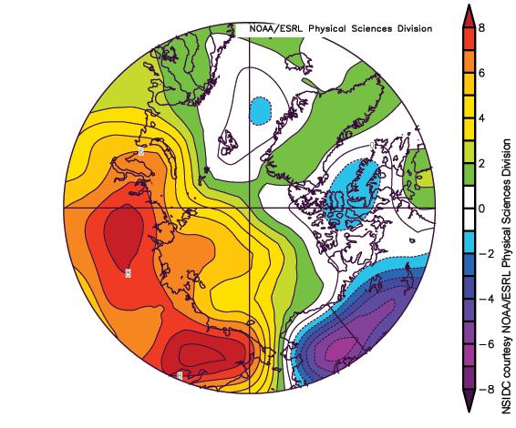 Arctic Regional Air Temperatures for March 2017