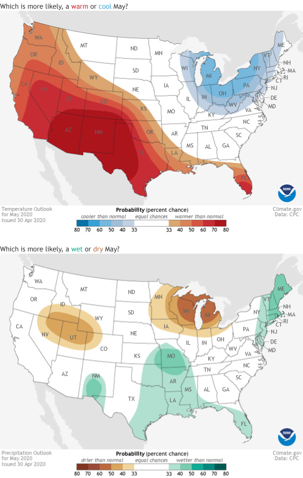 outlook. temperature, precipitation, spring, may, Climate Prediction Center, NWS, NOAA, CPC