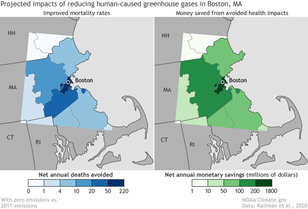 Side by side maps of greater Boston area showing avoided mortality and healthcare savings from zero emissions