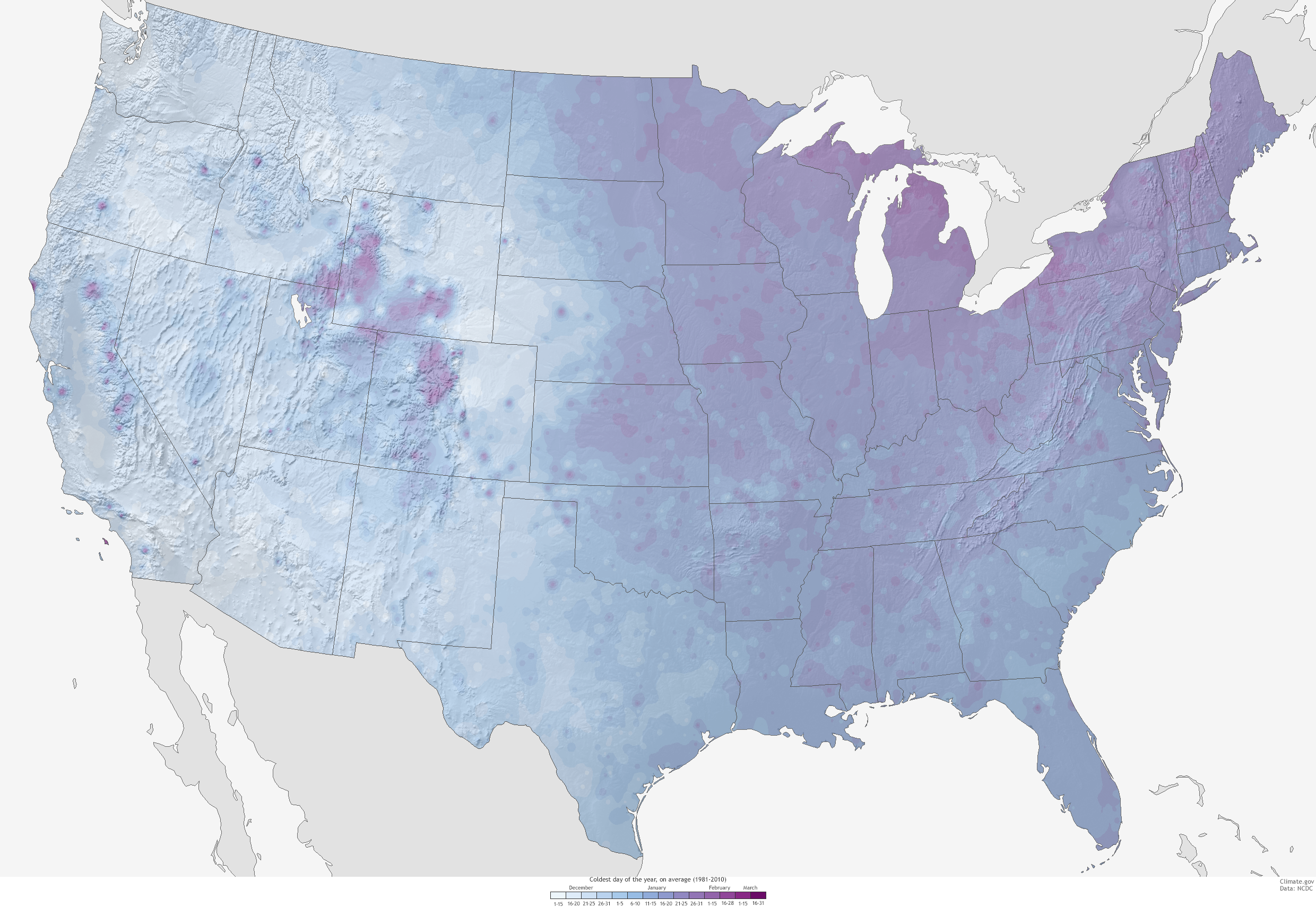 Whats The Coldest Day Of The Year NOAA Climategov - Terrain map us