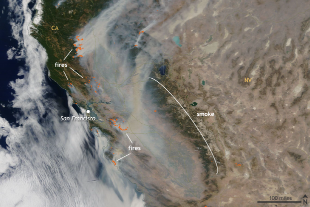 NASA MODIS TERRA, Satellite, California, wildfires