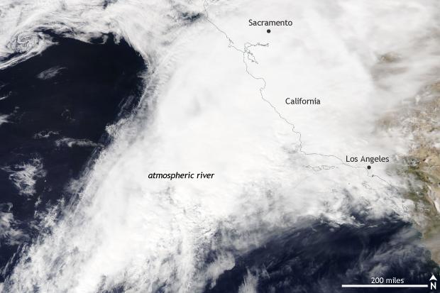 Satellite, MODIS, AQUA, Atmospheric River, California