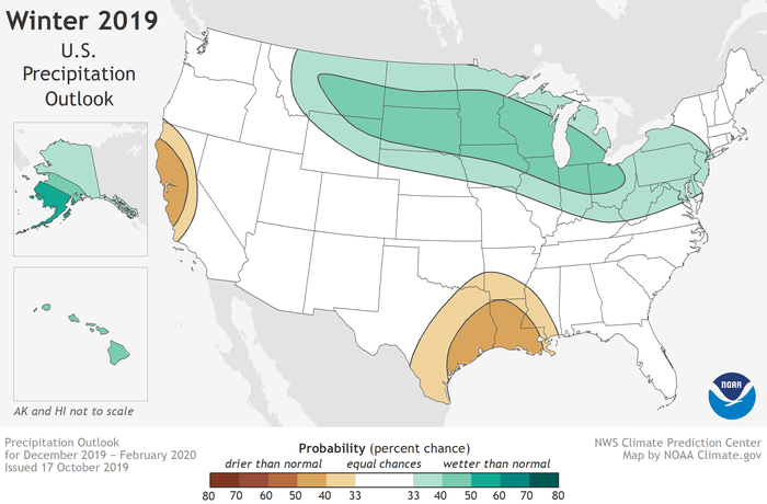 Map of the CONUS with insets at left for AK and HI showing green shaded areas where above-average precipitation is the most likely winter outcome