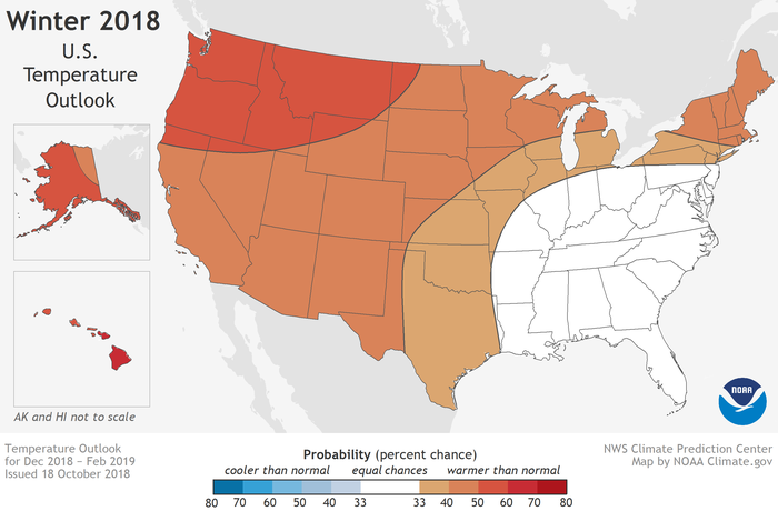 NOAA: Winter Weather Forecast / Prediction For 2018 – 2019