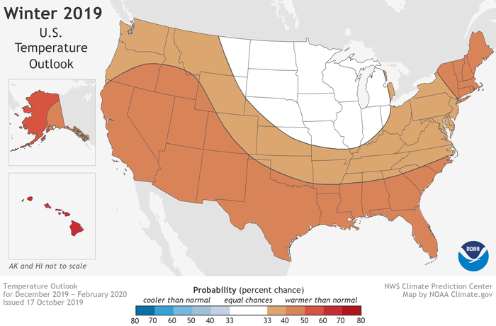 Map of the CONUS with insets at left for AK and HI showing red shaded areas where above-average temperatures are the most likely winter outcome