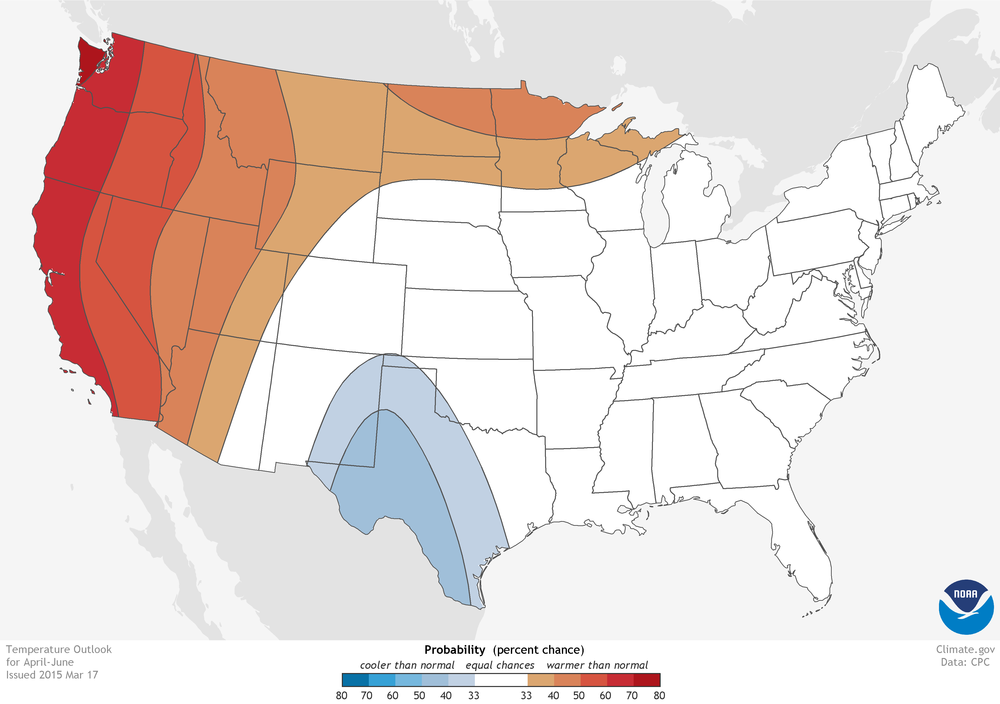 u s locations where odds are better than 33 that a region will experience well above red or well below blue average temperatures for april june