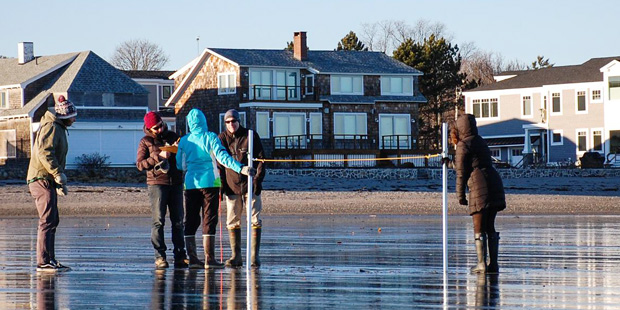 Four people dressed for winter weather stand on a wet beach in front of a row of homes