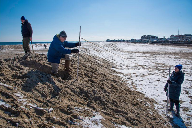 A volunteer stands on a large frozen berm on a broad beach, holding a pole attached to a measuring rope. Another volunteer holds a second pole at the inland foot of the berm.