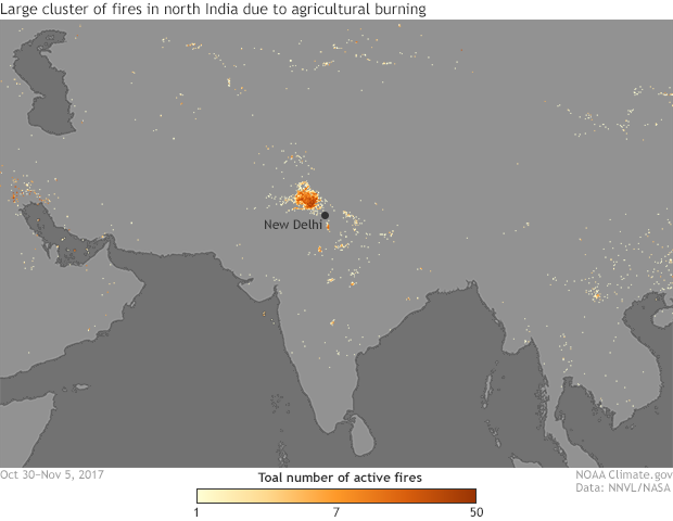 Suomi, NPP, Satellite, Fires, India, Pakistan, smog, pollution