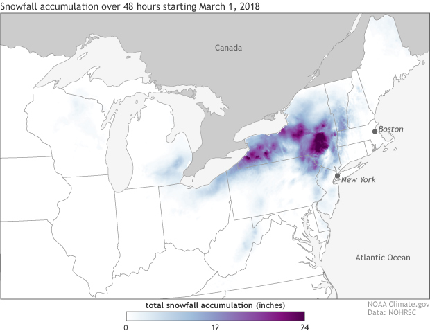 NOHRSC, snowfall, snow, nor'easter