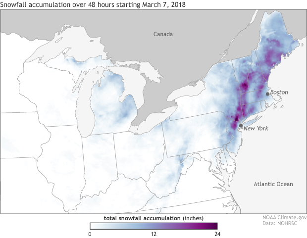 NOHRSC, snowfall accumulation, snowstorm, snow, nor'easter
