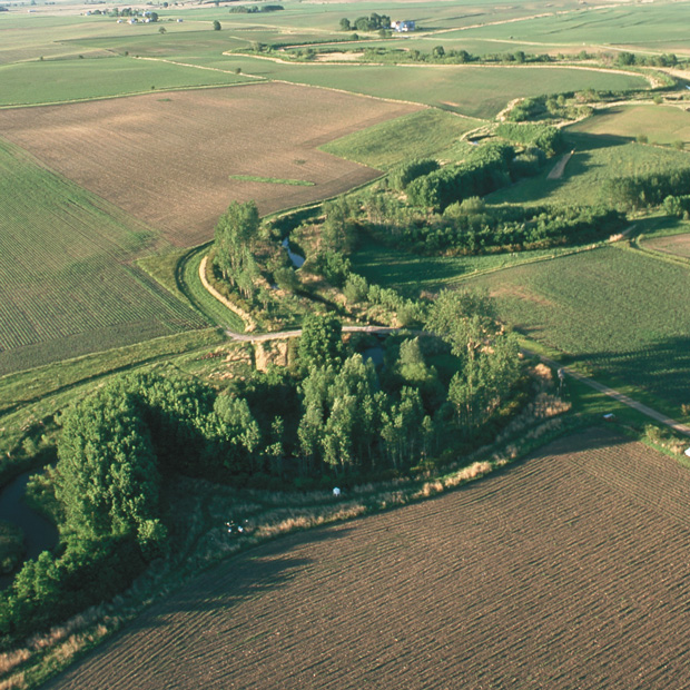 Aerial photo of a creek lined by trees and other natural vegetation within farm fields