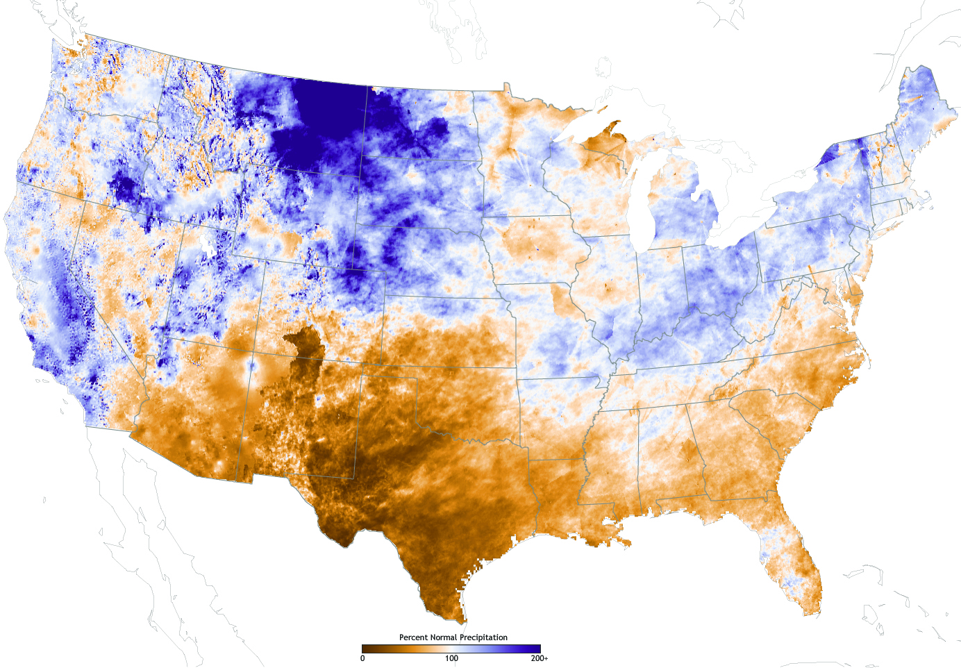 The Map Above Shows The Difference From Normal Precipitation Received In The United States Between October 1 2010 The Beginning Of The West S Water Year