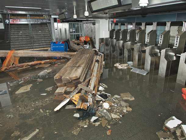 Photo of a flooded subway station in NYC
