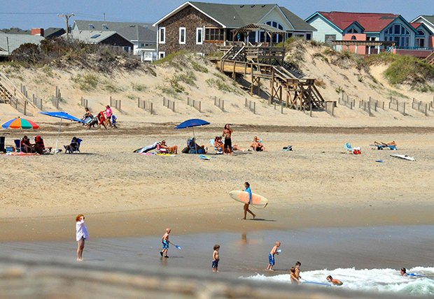 People on the beach at Nags Head