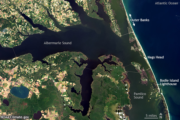 Photo-like satellite image of the North Carolina coast showing Albermarle Sound and the northern Outer Banks barrier islands