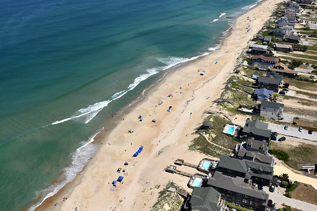 Aerial photo of beach front houses at Nags Head