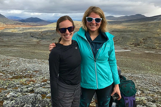 Photo of Larson (left) and friend and fellow NOAA postdoc Melissa Breeden (right)