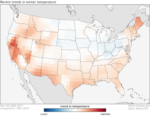 Climate, trends, warming, cooling, USA, temperature, winter