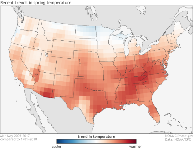 Climate, trends, warming, USA, temperature, spring