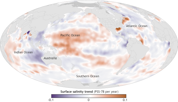 Map of ocean surface salinity trend, 2004-2013