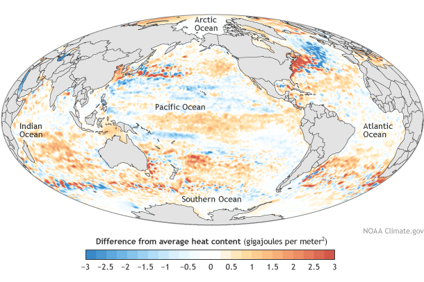 Map shows heat energy in the top upper ocean in 2014 compared to the average from 1993-2014.