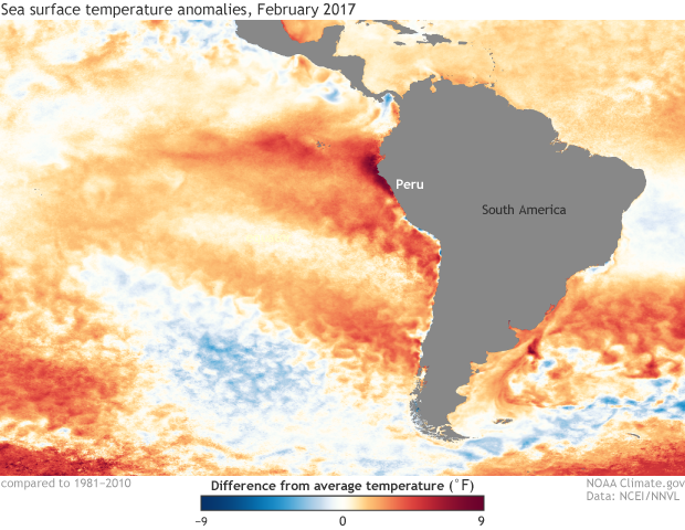 SST, Anomaly, South America, Peru, Pacific Ocean,