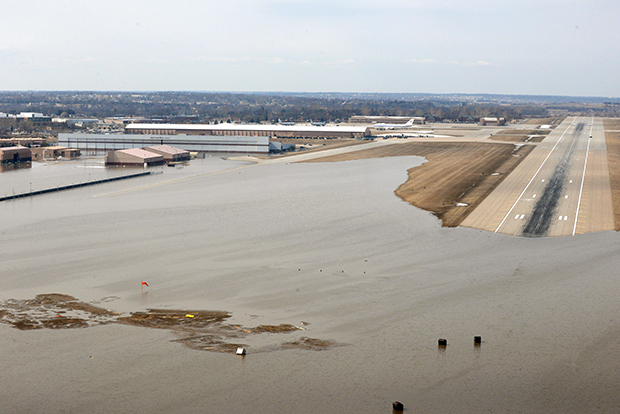 Photo of a flooded runway and buildings on Offutt Air Force Base on March 17, 2019