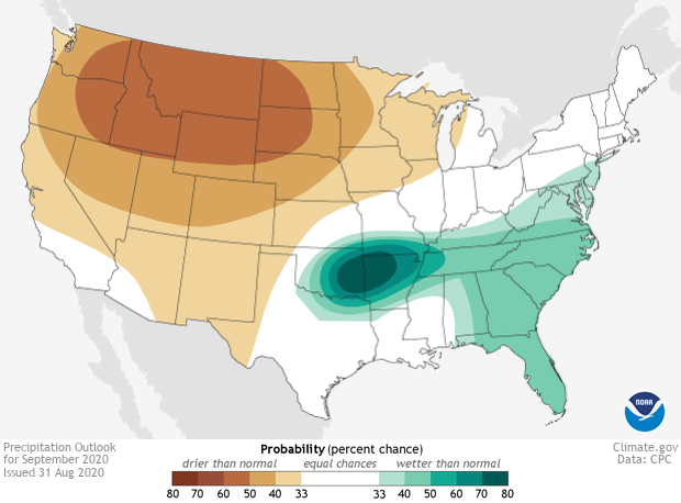 Precipitation, Climate Outlook, September 2020