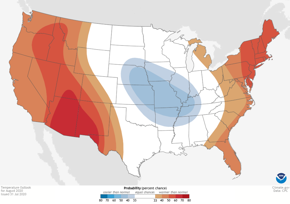 map of CONUS showing places favored to have hotter-than-average temperatures in shades of red, and places favored to have cooler-than-average temperatures in shades of blue