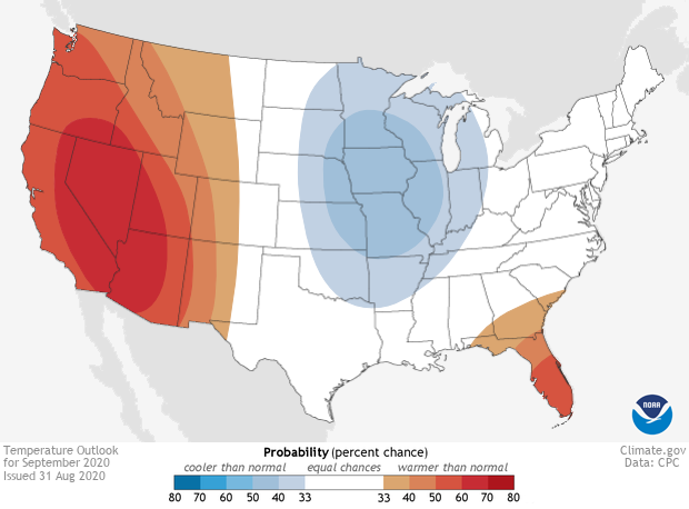 Climate outlook, Temperature, September 2020