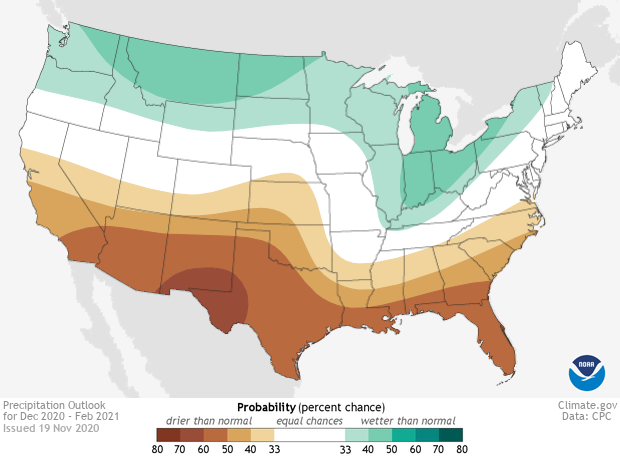 Map of US winter precipitation forecast for 2020-21
