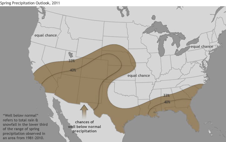 U.S. Map showing outlook for precipitation in spring 2011