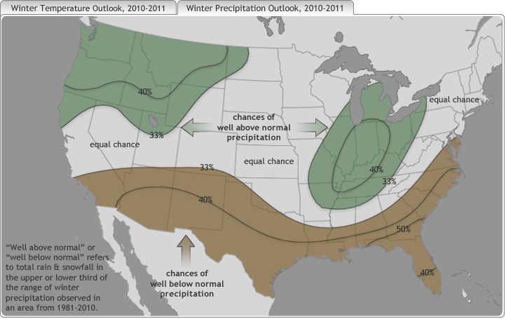 map of US with green and brown shading showing where precipitation was likely to be above or below normal in Winter 2010-2011