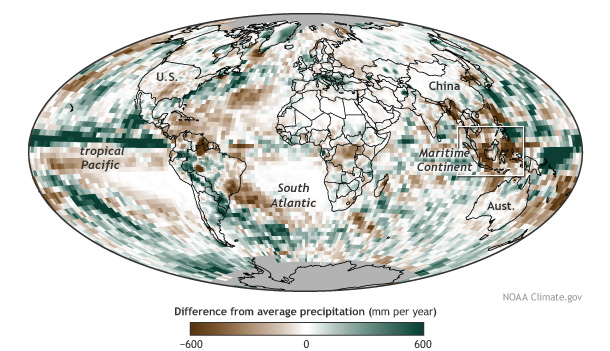 Map showing precipitation in 2014 compared to the 1988-2010 average.