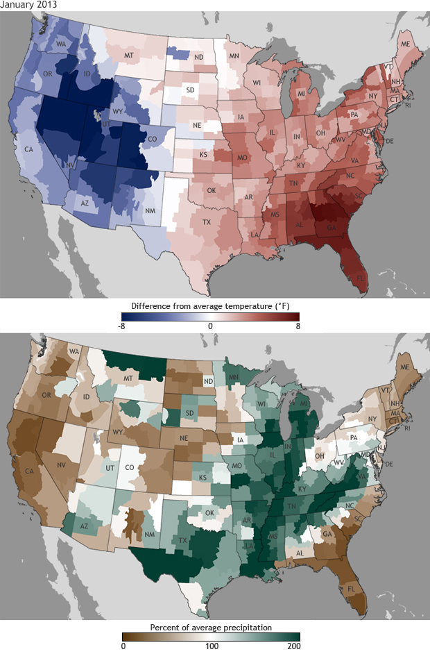 US Average Temperature Right At Freezing For January Rain And - Us average temperature map by month
