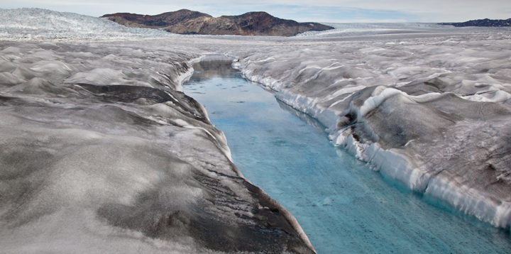 Photo of dirty ice on ice sheet