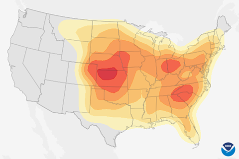 Historical Probabilty of Severe Weather Map