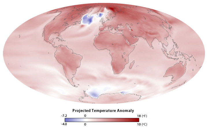 map of global temperature anomalies in 2100